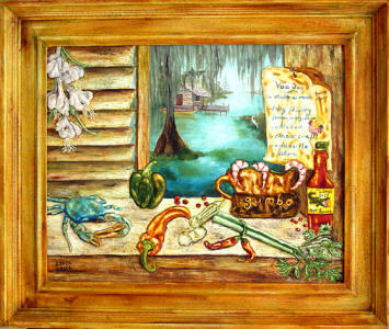Louisiana Kitchen original framed painting