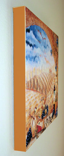 shows side of ready to hang stretched canvas print