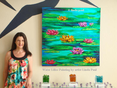 water lilies artwork painting with artist Linda Paul