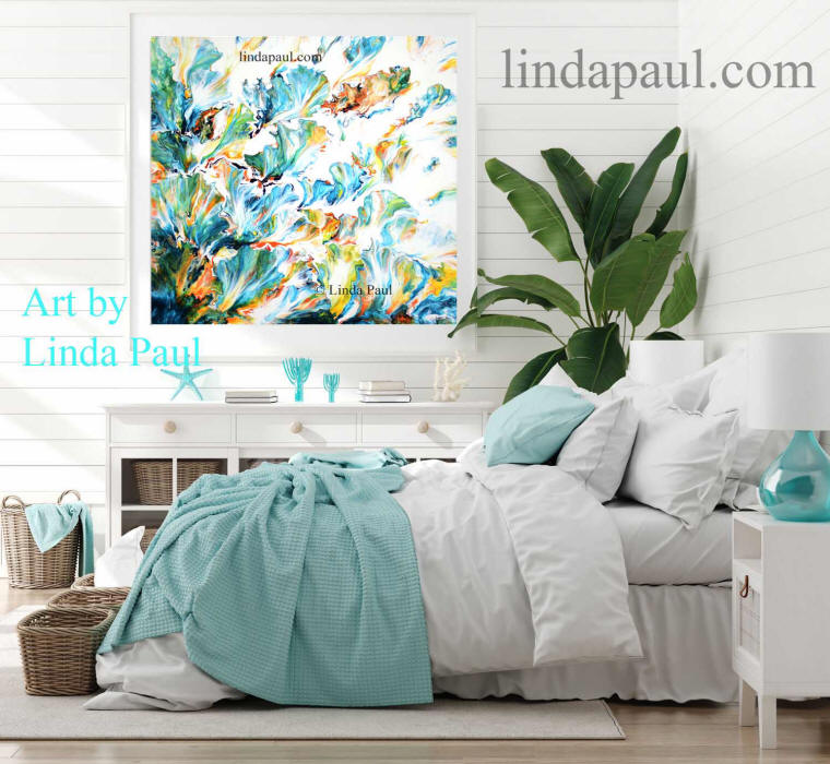 beach house decor art painting turquoise