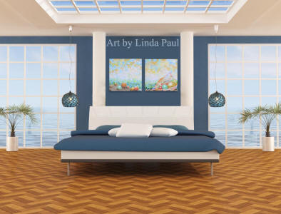 nautical blue and white bedroom decor with pearl painitngs