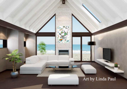 beach house living room with fish art painting