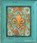 fleur de lis original art painting in copper and blue-green patina framed