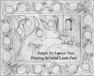 rough sktech for lemon tree painting