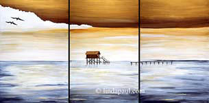 set of 3 contemporary canvas artowks of ocean view