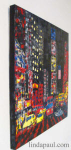 side view of new york city painting