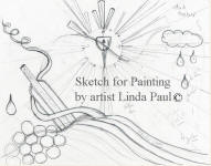initial sketch for Linda Paul's painting Art decor Ode to Wine