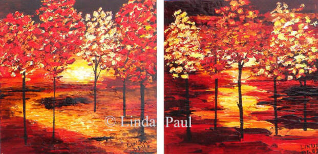 contemporary landscape paintings of red trees and sunset
