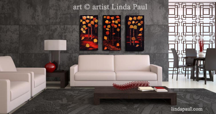 black and white and red living room with contemporary aspen artwork