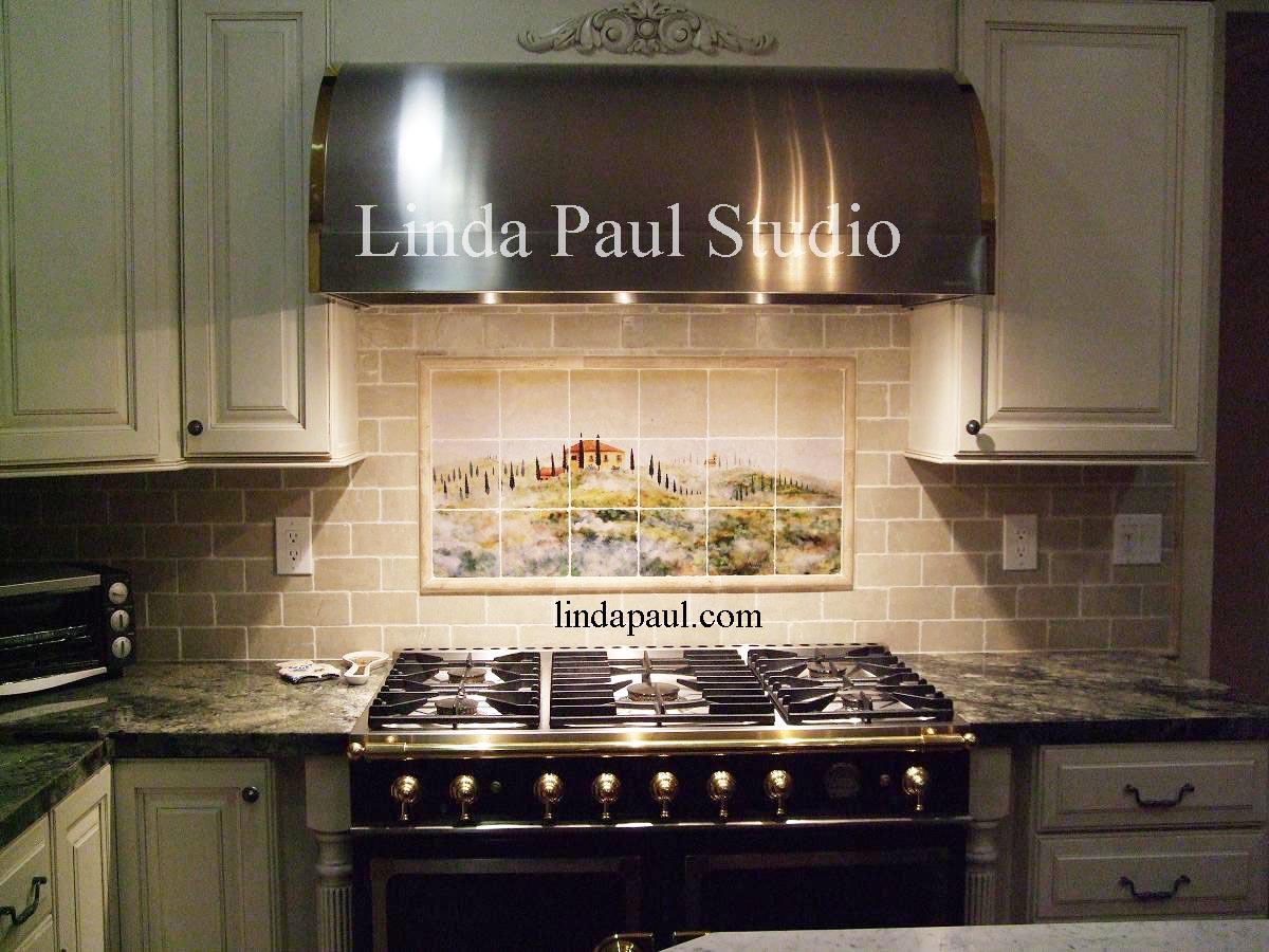 Tuscan tile murals kitchen backsplashes tuscany art tiles for Kitchen backsplash ideas