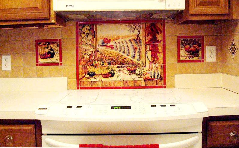 Mexican Tile Murals Chili Pepper Kitchen Backsplash Mural