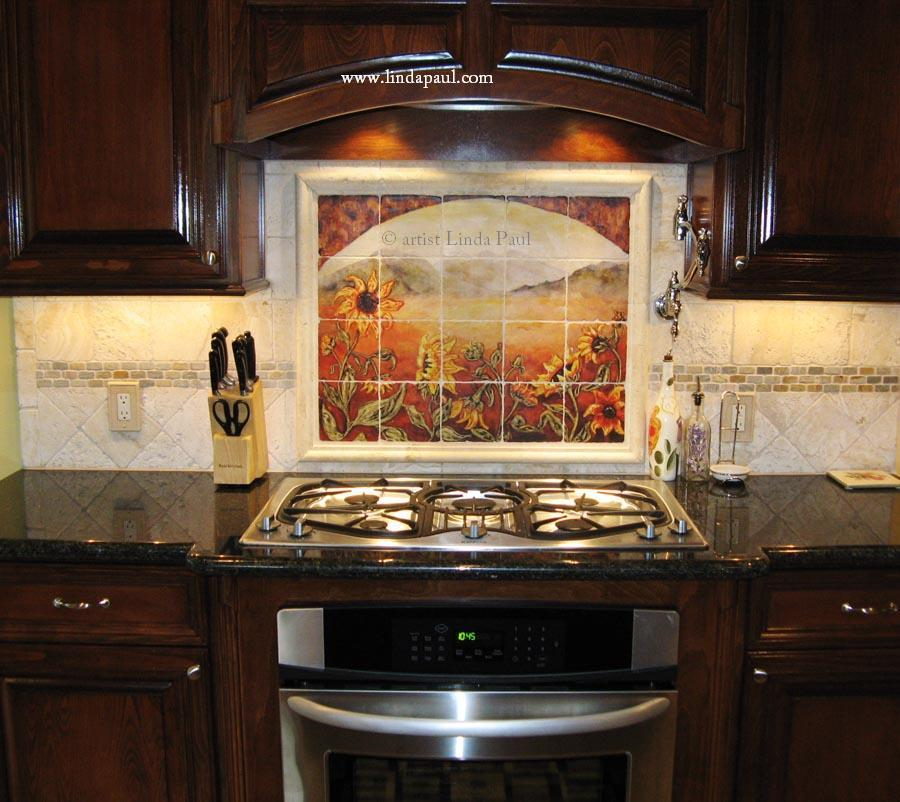 Sunflower kitchen decor tile murals western backsplash of sunflowers Kitchen ideas backsplash pictures