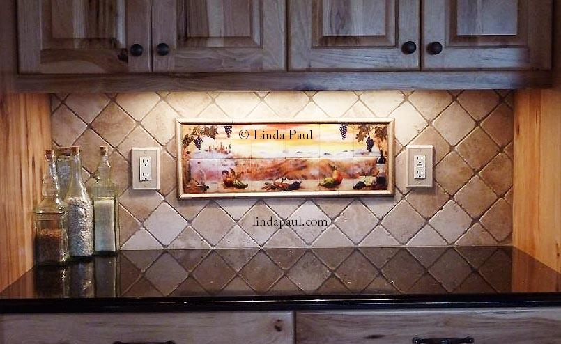 Tile mural of tuscany sunset tuscan kitchen backsplashes for Backsplash tile mural