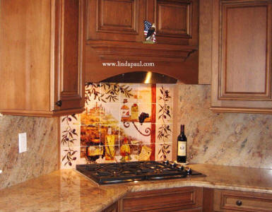 Tuscan Kitchen mural with Olive vine sides