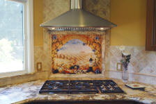 tuscany arch mural backsplash