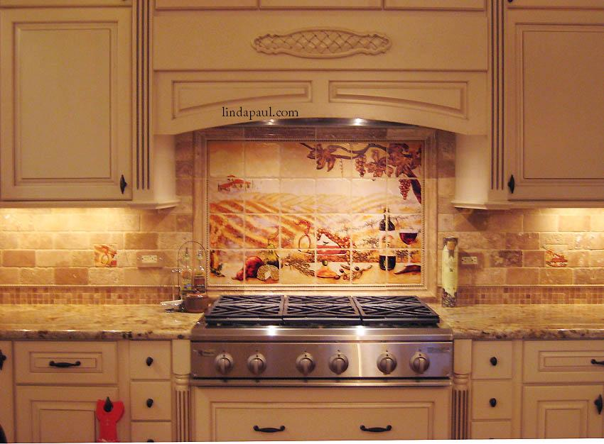 installed kitchen backsplash design travertive mosaic
