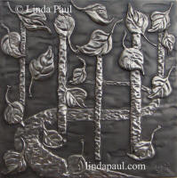 falling aspen leaves plaque