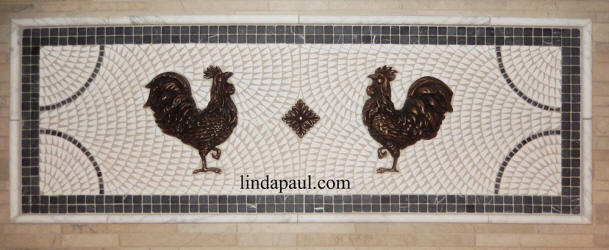 tow rooster mosaci tile and metal medallion backsplash
