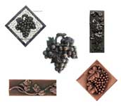 collection of grape and grapevine metal accents and onlays