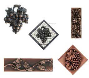 grape decorative tile inserts and onlays