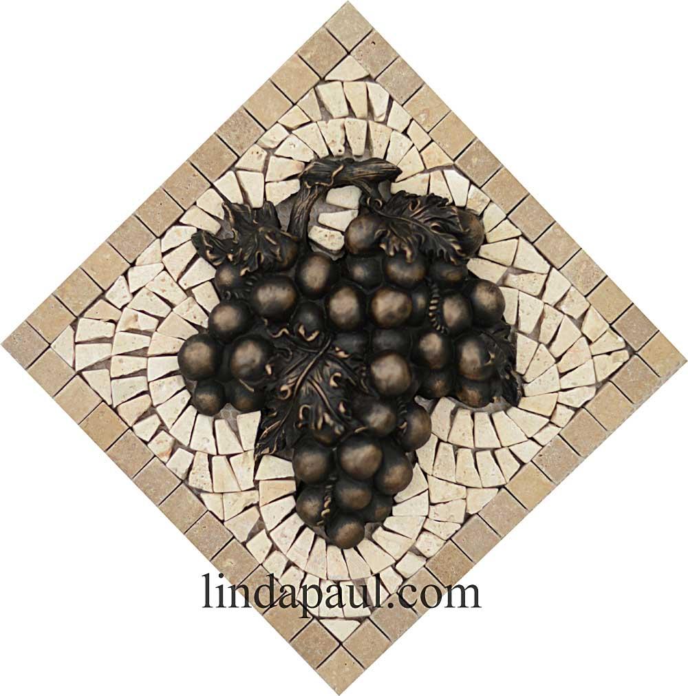 Grapes Mosaic Tile Medallion Kitchen Backsplash Mural