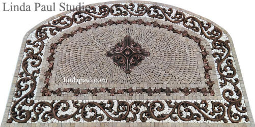 36x24 arched mosaic tile medallion