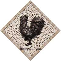 rooster bronze medallion