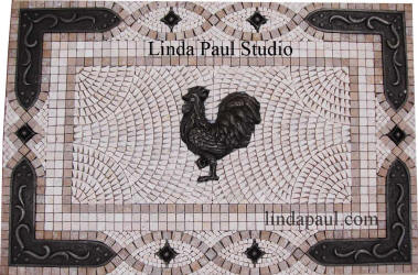 Rooster backsplash moscai tile medallion