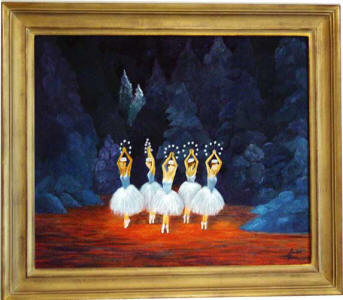 nutcraker original ballet painting of 5 dancers on stage