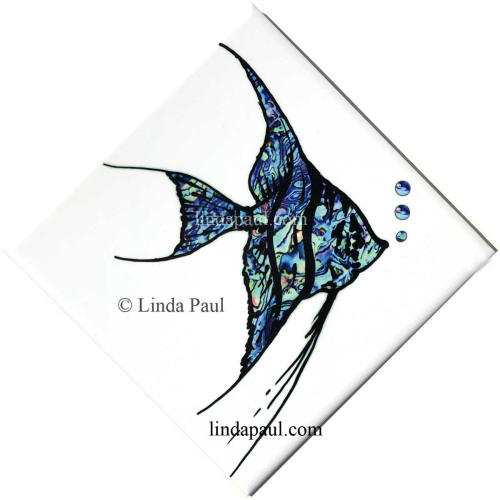 blue white fish tile