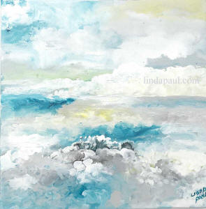turquoise grey and yellow ocean painting