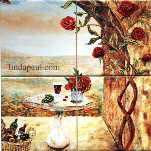 wine and roses mini tile mural 12 x 12