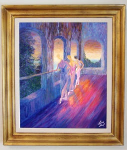 ballet painting in gold frame