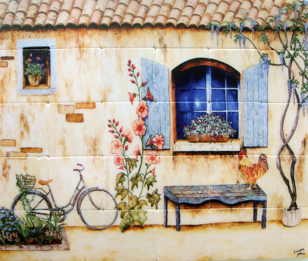 French Country Kitchen Backsplash Tiles Wall Murals Wallpaper Topics Farm  Scenes Amp Border