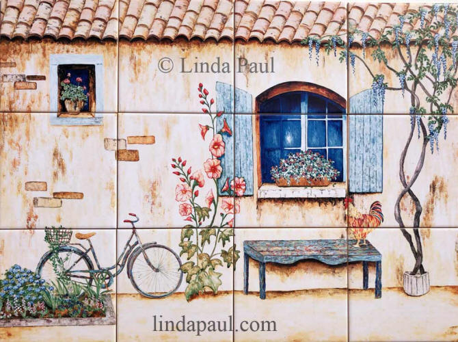 french country tile mural backsplash