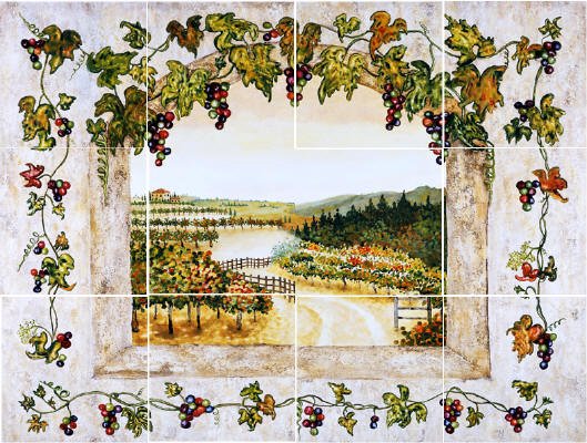 GRAPES AND VINES MURAL STONE BACK SPLASH