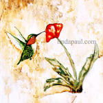 hummingbird and poppy accent tile