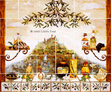 extended sku version of Italian kitchen window tile mural