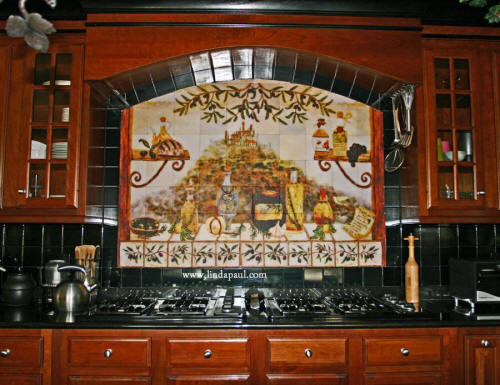 custom kitchen tile mural backsplash idea