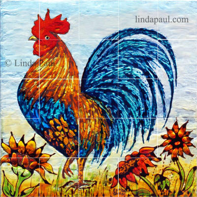 Rooster tile mural backsplash