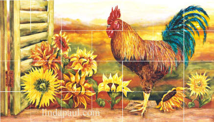 rooster and sunflowers tile mural