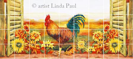 longer version of roosters and sunflowers mural