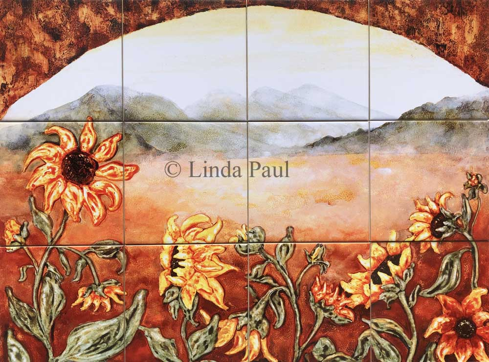 Sunflower kitchen decor tile murals western backsplash of