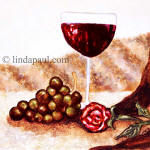 wine and rose tile