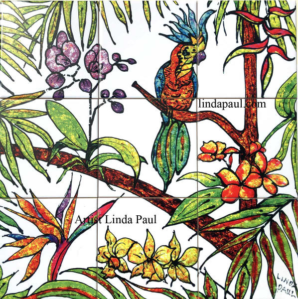 tropical tile mural bird of Paradise