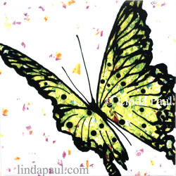 lime green butterfly tile art