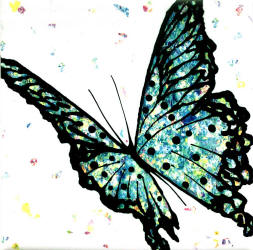 multi blue butterfly tile
