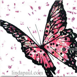 pink butterfly tile