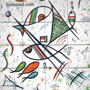 picasso fish tile mural