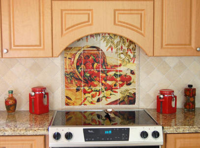 Peppers tile mural with red kitchen decor
